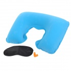 JOYTOUR JT2007 U Shape Travel Air Inflatable Neck Pillow + Blinder + Earbud - Blue + Black + Orange