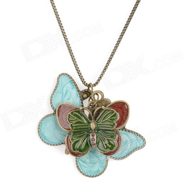 Fashionable Bohemia Style Butterfly Pendant Necklace - Copper + Blue