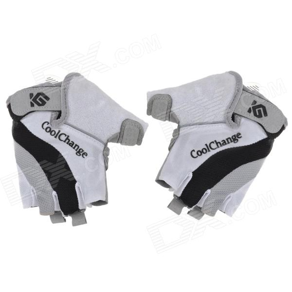 CoolChange Cycling Sports Half Fingers Gloves - Black + White + Grey (Pair) good hand full fingers cycling gloves black red pair size xl