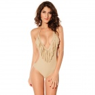 LC40381-2 Woman's Ultra-Sexy Tassels V-Neck One Piece Swimsuit - Tan Color (Size-L)