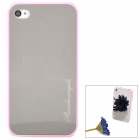 Stylish Novel Toughened Organic Glass Mirror Shell Protective Back Case for Iphone 4S / 4 - Pink