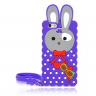 Cute Rabbit Style Silicone Back Case w/ Strap for Iphone 5 - Purple
