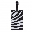 Zebra Style Travel PVC Bag / Luggage Tag w/ Strap - Black + White