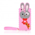 Cute Rabbit Style Silicone Back Case w/ Strap for Iphone 5 - Pink