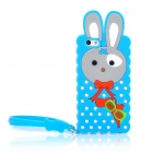 Cute Rabbit Style Silicone Back Case w/ Strap for Iphone 5 - Blue