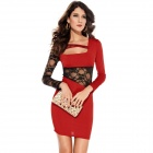 LC2773-3 Personalized Sexy Long-Sleeve Lace Dress for Women - Red + Black (Free Size)
