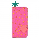 Cute Strawberry Pattern Flip-open PU Leather + Silicone Case w/ Holder for iPhone 5 - Pink + Yellow