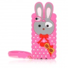 Cute Melody Rabbit Style Protective Silicone Back Case w/ Strap for Iphone 4 / 4S - Deep Pink