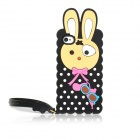 Cute Rabbit Style Silicone Back Case w/ Strap for Iphone 4/4S - Black