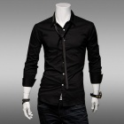 Men's Slim Fit Long-Sleeve Shirt - Black (Size L)