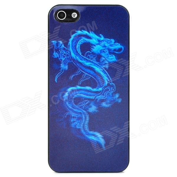 все цены на Stylish 3D Chinese Dragon Pattern Protective Plastic Back Case for Iphone 5 - Black + Blue онлайн