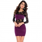 LC2738-4 Fashionable Sexy Hollow out Lace Insert Package-hip Dress - Purple + Black (Free Size)