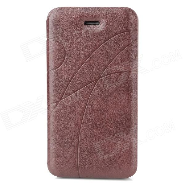 Stylish Protective PU Leather Case for Iphone 4 / 4S - Red Brown protective pu leather plastic case w display window for iphone 4 4s maroon