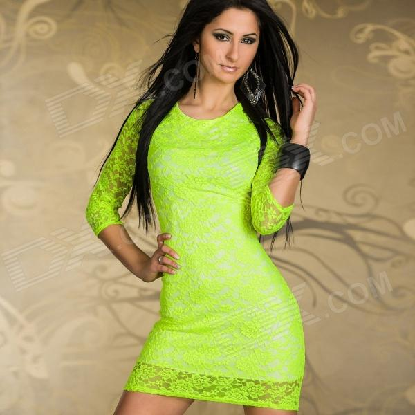 LC2888 Woman&39s Sexy Elegant Cut-out Lace Cocktail Dress - Neon ...
