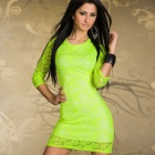 LC2888 Woman's Sexy Elegant Cut-out Lace Cocktail Dress - Neon Green (Free Size)
