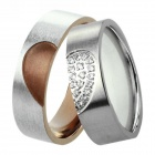 eQute COO12D1 Heart Style Titanium Steel Couple Lovers Rings - Silver (Size Women 7 / Men 10 / Pair)