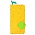 Cute Pineapple Pattern Protective PU + TPU Case w/ Card Slots for iPhone 5 - Yellow + Green