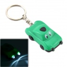 CHEERLINK Mini Solar Powered Cartoon Car Keychain Shaped 2-LED Flashlight - Green