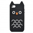 Cute Owl Style Silicone Back Case for iPhone 4 / 4S - Black