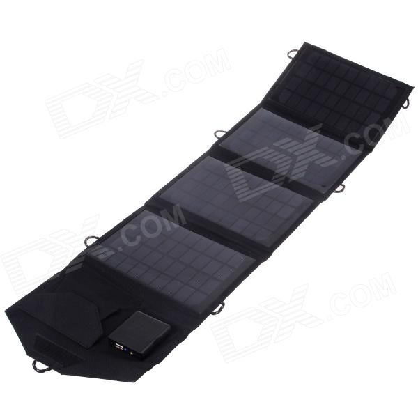 14W Dual Output Foldable Portable Solar Panel Charger - Black