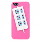 Stylish Extension Socket Decorative Protective Plastic Back Case for Iphone 5 - Rosy + Blue + White