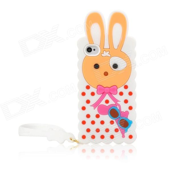 Cute Rabbit Style Silicone Back Case w/ Strap for Iphone 4 / 4S - White cute marshmallow style silicone back case for iphone 5 5s yellow white