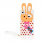 Cute Rabbit Style Silicone Back Case w/ Strap for Iphone 4 / 4S - White