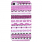 Protective Tribal Tattoo Pattern Plastic Back Case for Iphone 4 / 4S - Black + White + Purple