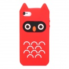 Cute Owl Style Silicone Back Case for Iphone 4 / 4S - Red