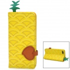 Creative Pineapple Style Flip Open PU Leather Case for iPhone 5 - Yellow + Brown