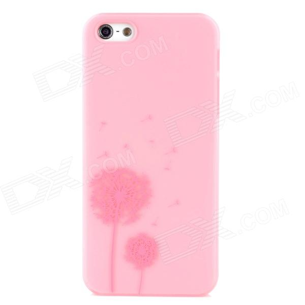 Dandelion Pattern Protective Plastic Case for Iphone 5 - Pink cartoon pattern matte protective abs back case for iphone 4 4s deep pink