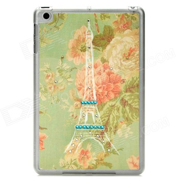 Retro Style Crystal Eiffel Tower Pattern Back Case for Ipad MINI - Light Green + Pink