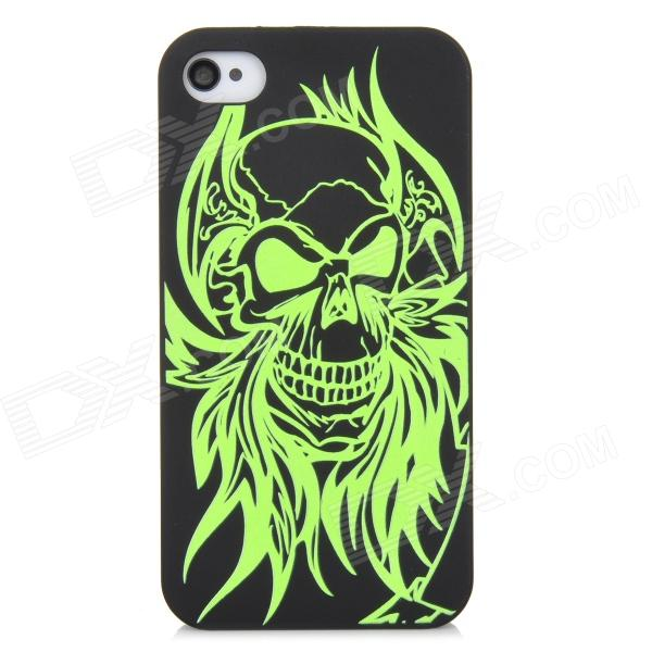 Glow-in-the-Dark Relief Devil Style Protective Plastic Back Case for Iphone 4 / 4S - Green + Black