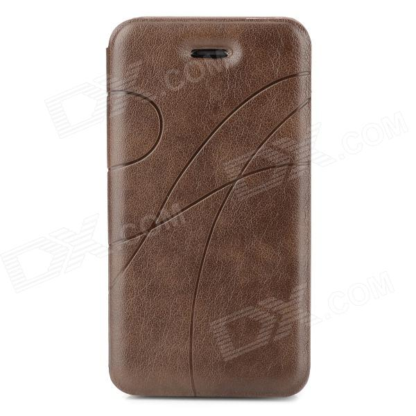 Stylish Protective PU Leather Case for Iphone 4 / 4S - Brown protective pu leather plastic case w display window for iphone 4 4s maroon