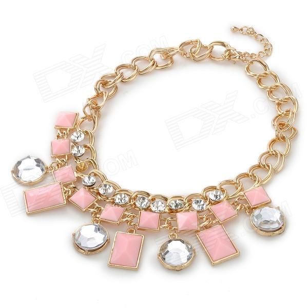 Stylish Acrylic + Shiny Crystal Adornment Zinc Alloy Necklace - Golden + Pink + Silver stylish zinc alloy earrings white golden pair
