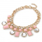 Stylish Acrylic + Shiny Crystal Adornment Zinc Alloy Necklace - Golden + Pink + Silver