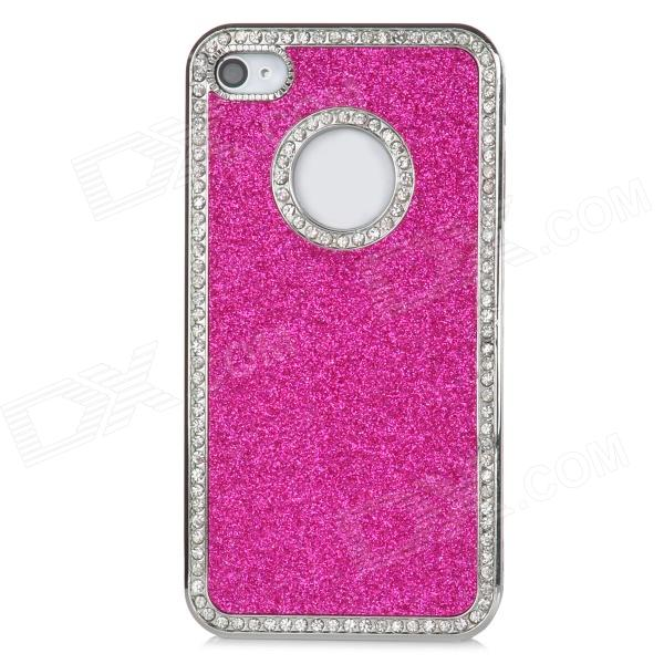 Stylish Protective Shining ABS Back Case for Iphone 4 / 4S - Deep Pink + Silver stylish 3d eagle pattern protective abs pc back case for iphone 4 4s multicolored