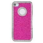 Stylish Protective Shining ABS Back Case for Iphone 4 / 4S - Deep Pink + Silver