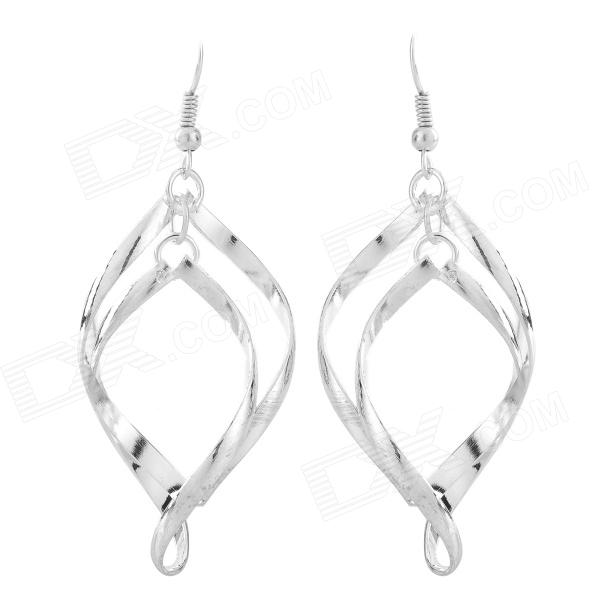 Fashionable Double Wave Style Silver Coating Earring - Silver (2 PCS)