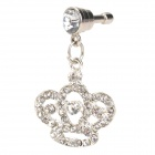 Stylish Rhinestone Crown Style Audio Jack Anti-Dust Plug for Cell Phone - Silver