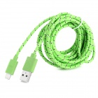 USB-zu-8-Pin Blitz Data / Laden Hanfseil-Kabel für iPhone 5 - Green (300CM)
