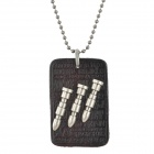 Stylish Bullet Inlaid PU Leather Plate Style Pendant Necklace - Silver + Black