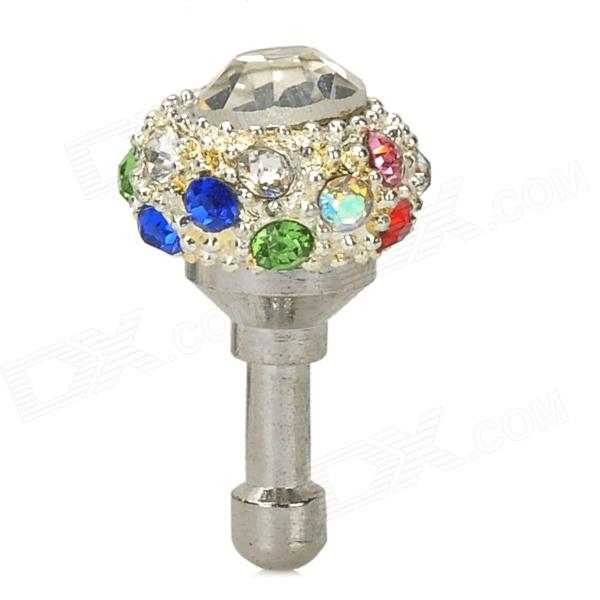 Elegant Rhinestone Anti-Dust 3.5mm Plug for Iphone / Samsung / HTC / Xiaomi - Silver