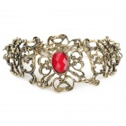Retro Shiny Crystal Inlaid Openwork Engraving Flower Bracelet - Red + Bronze