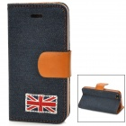 UK Flag Style Protective Denim PU Leather Case for Iphone 5 - Dark Blue + Brown