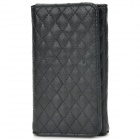 Checked Pattern Protective PU Leather Case w/ Card Holder Slots / Hand Strap for iPhone 5 - Black