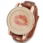 Woman's Stylish Red Lip Print Pattern Quartz Analog Wrist Watch w/ PU Leather Band (1 x 377)