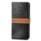 Stylish Protective PU Leather Case for Iphone 5 - Black + Brown
