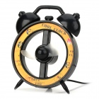 Alarm Clock Style USB Powered 2-Blade Fan - Black + Yellow