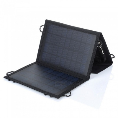 10W USB Output Foldable Portable Solar Panel Charger - Black